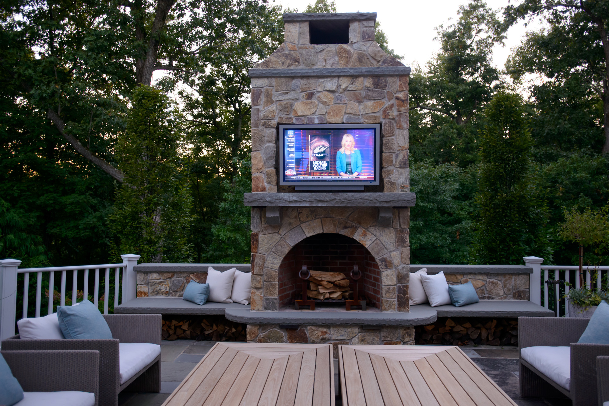 Armonk new york - Outdoor fireplace with tv ...