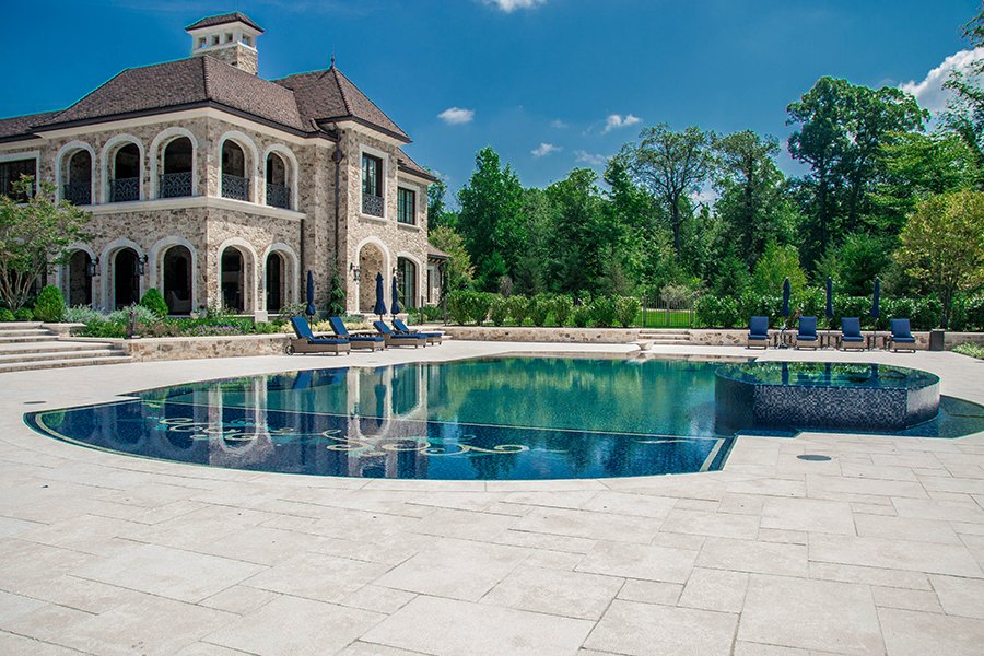 Glass Tile Pool with Patio