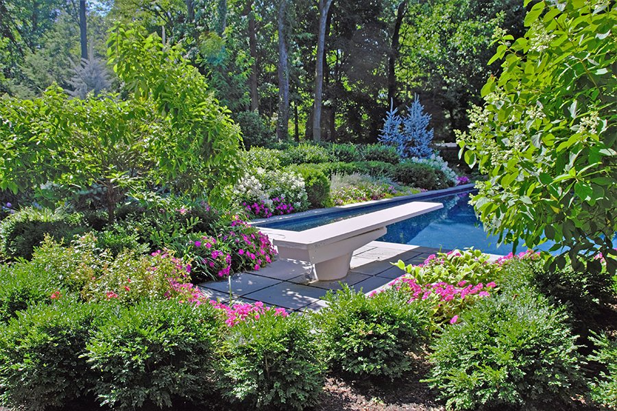 Colorful Gardens Surround Pool Area, Closter NJ