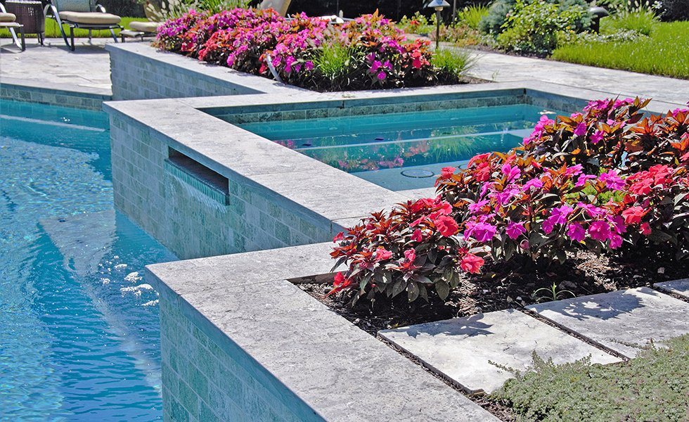 Custom Modern Spa Design with Planting Beds