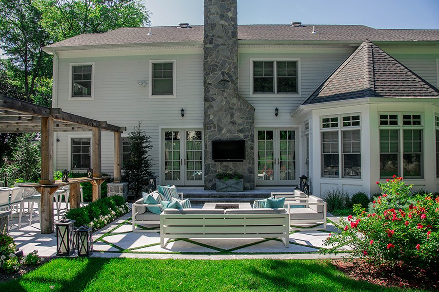 Outdoor Television with Fire Pit Space