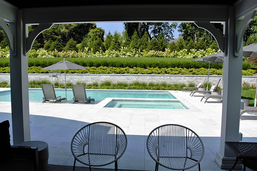 Picturesque Views from Poolside Pergola