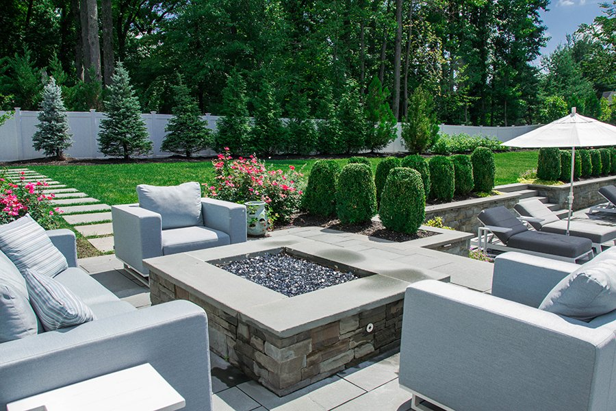 Poolside Fire Pit Seating Area