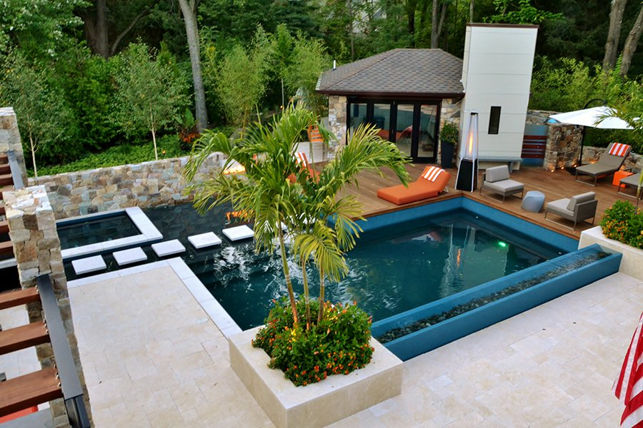 Overview of Pool and Pool Cabana