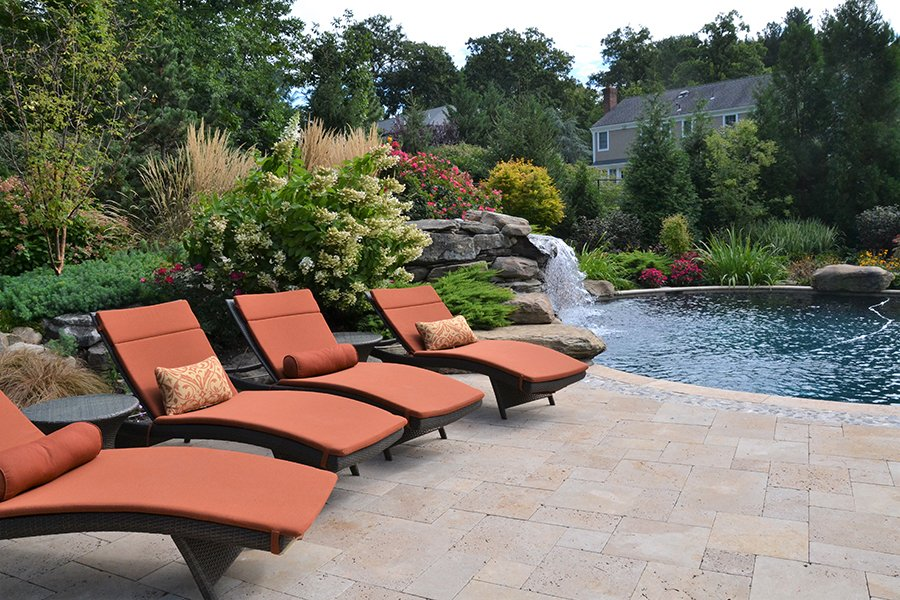Poolside Waterfall Seating