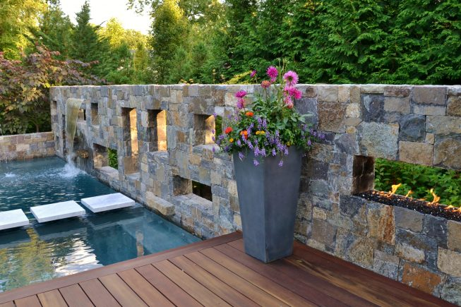 Custom Stone and Fire Wall Design