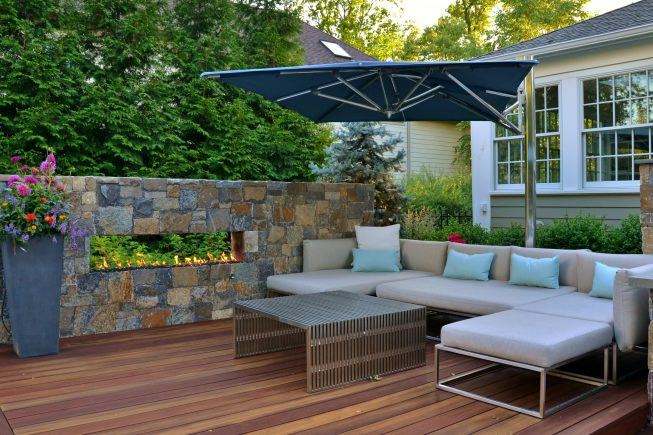 Patio Seating Space with Fire Wall