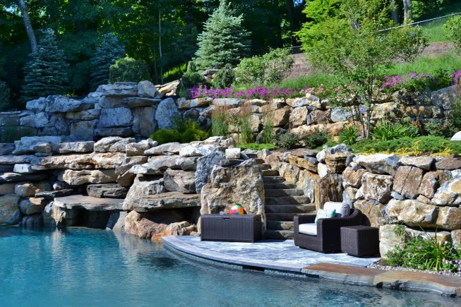 Poolside Waterfall and Stone Wall