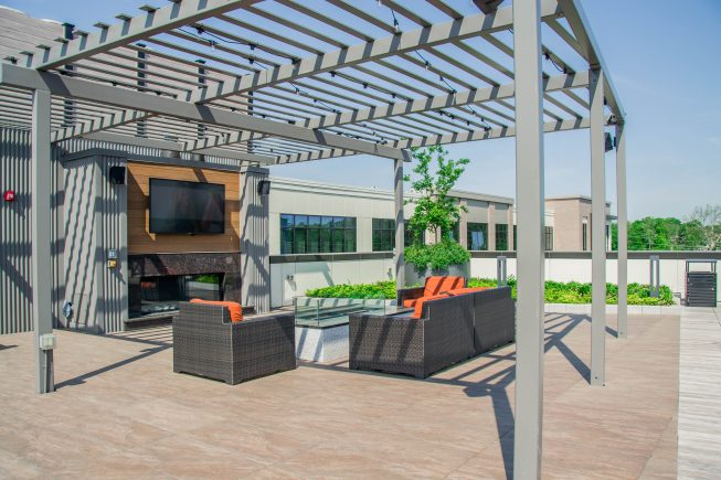 Covered Outdoor TV Seating Design